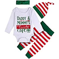 COSLAND Baby 4PCS Christmas Costume Long Sleeve Sets Daddy & Mommy's Favorite Gift