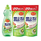 Mama Lemon Anti-Bacterial Dishwashing Liquid, Green Tea, 750ml with Refill 600ml (Pack of 2)