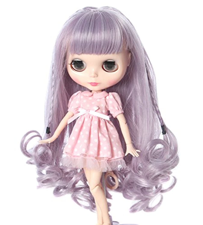 (ドーリア)Dollia ブライス ドールウィッグ ロング カール 編み込み 巻き髪 ボブ パープルグレー アレンジ ダブル カラー かわいい カツラ 髪 ネオブライス