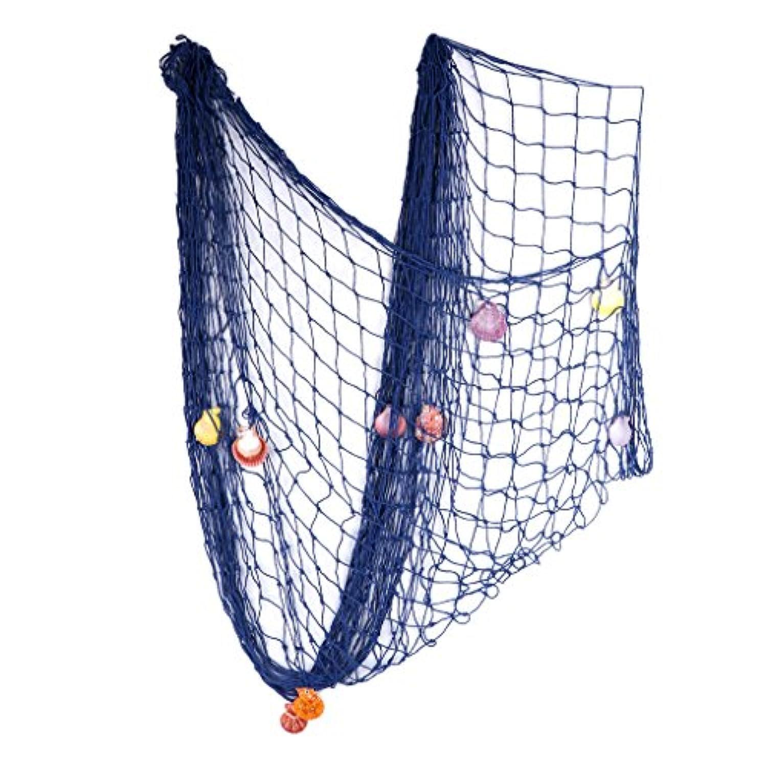 Redriver地中海スタイル装飾Fish Net with Shellsホーム航海の装飾ブルー新しい
