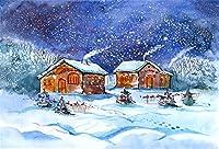 AOFOTO ビニール冬用スノーバックドロップ クールな雪の景色 写真撮影用背景 写真ブース小道具