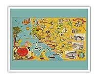 フランスのビューティーコースト - 南西海岸線 - 絵図 によって作成された ルシアン・ブーシェ c.1940 - アートポスター - 41cm x 51cm
