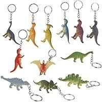 Prettyia Dinosaur Key Chains for Boys Girls Kids, 12 Pieces, Various Colors, Handbag, Backpack, Purse, Bag Pendant Keychain Charms