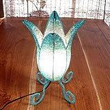 バリ アジアン照明 ランプ バリウッド:ビーズいっぱいのご存知パックリ型テーブルランプ!サックスブルー