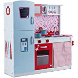 Rovo Kids Wooden Toy Kitchen Play Set, Blue, Pink and Red