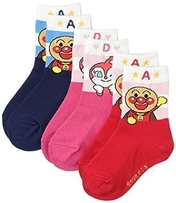 (アンパンマン)ANPANMAN キッズ アンパンマン4キャラクタークルー ソックス 靴下 3足組 25 187-2530 AMK-0019 140&100&700 アソート2 アンパン2種+ドキンちゃん set 13cm