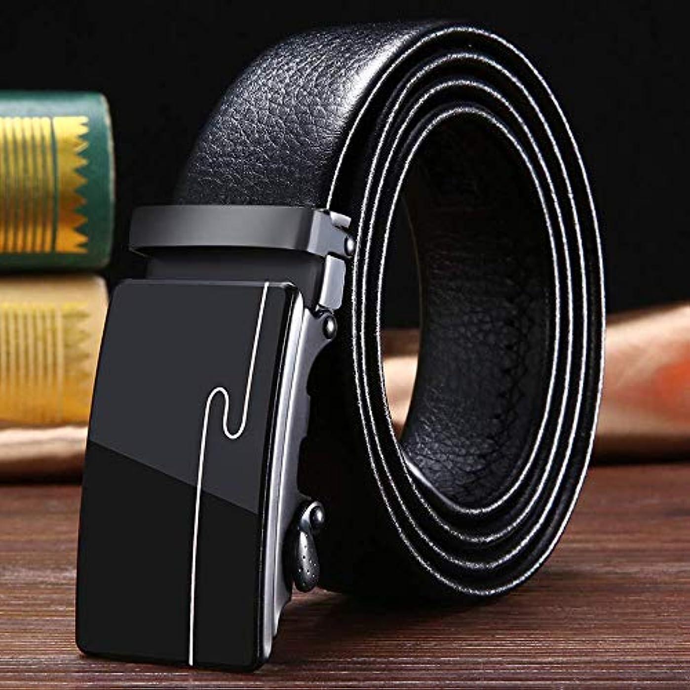 解読する入札追放するベルトメンズレザーオートマチックロックバックルバックル紳士スーツベルト品質レザー無段階調整無孔ビジネスカジュアルメンズベルトサイズ調節可能カットフリータイプギフトボックスブラック (3)
