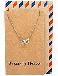 QuanジュエリーInterlockingハートSisterネックレスwith Greeting Card、Big Sis、Little Sis BFF誕生日ギフトアイデア、Silvertone