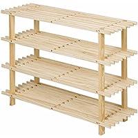 シューズラック- 4段靴ラック木製シンプルな収納キャビネット家具クリエイティブシンプルオーガナイザー棚 (色 : 木の色)