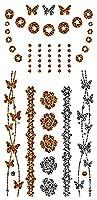 ボディーアート タトゥーシール 蝶々と花 ヒョウ Sticker Tattoo - StickerCollection