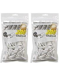 pure ピュアスーパースリム チャコールフィルター 200個入りx2パック 手巻き シャグ