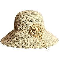 DGLIYJ 麦わら帽子女性ビーチ帽子夏ファッション日よけキャップ折りたたみ大きな帽子 (色 : E)