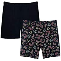 Popular Girl's Butter Soft Solid and Print Active Bike Shorts - 2 Pack