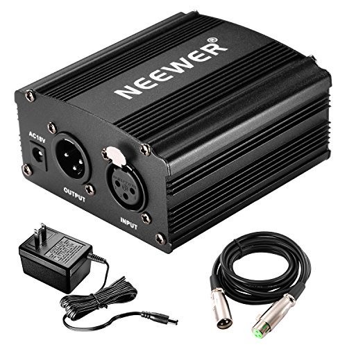 NEEWER 1チャンネル48Vファンタム電源 アダプター XLRオーディオケーブル一本付属 コンデンサーマイク 音楽レコーディング機器に対応 【並行輸入品】