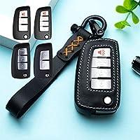 Psler® 車用 キーケース キーホルダー 汚れ傷防止 高級レザー 対応車種 日産 NISSAN Sylphy/TEANA (Altima) /TIIDA/Qashqai/X-Trail/Murano/Sunny/Kicks (スタイル B-ブラック)