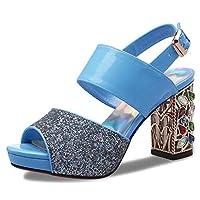 厚めのハイヒールサンダル女性の夏とカラフルなダイヤモンドプラットフォームのサンダルの女性のサンダル (Color : Blue, Size : 38)