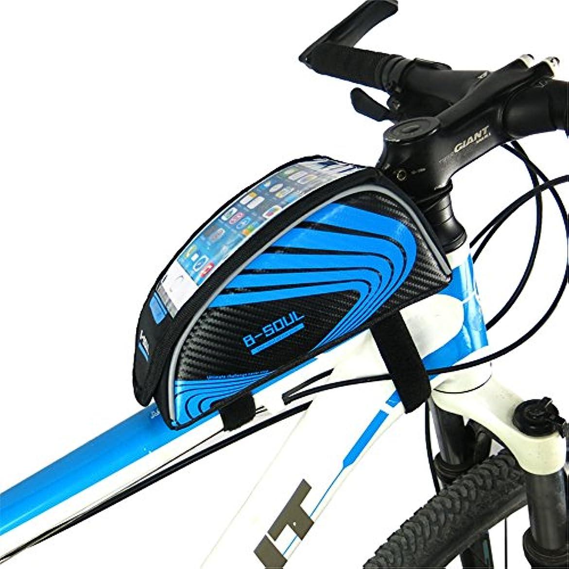 刃田舎職業自転車シートパックバッグアウトドアスポーツタッチスクリーン5.5インチ携帯電話バッグ自転車フロントフレームマウンテンバイクマウンテンバイクサドルバッグ 自転車サドルバッグ大容量 (色 : 青)