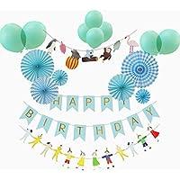 ハッピーバースデーフラワー、パーティー、結婚式の装飾、赤ちゃんの誕生日紙の花の花のパッケージ両面テープ付き結びリボンバースデーバルーン ペーパーファン誕生日 飾