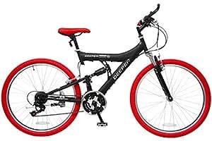 DEEPER(ディーパー) フルサスペンション マウンテンバイク 26インチ シマノ18段変速 自転車 フルサスペンション バーエンド装備 DE-08 ブラック×レッド