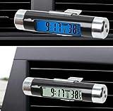 バックライト 車載 クリップ 式 デジタル クロック 時計 温度計 LED 電池 式