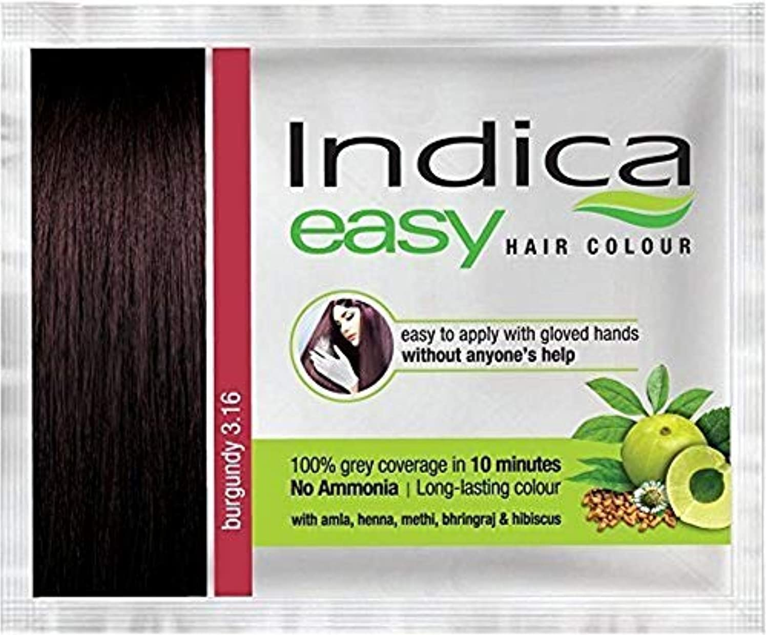 赤道忌み嫌う決定Nexxa 6Pc Indica Easy10 Minutes Herbal Hair Color Shampoo Base Burgundy Herbs