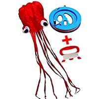 (Octopus with 6 Inch Reel) - HENGDA KITE-Beautiful Red Mollusc Octopus Kites For Kids 80cm Wide,400cm Long Tail With 15cm Professional Outdoor Kite Line Winder Winding Reel Grip Wheel