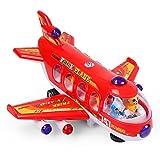 NextX B111 プレーン玩具 電子飛行機 旅客機747模型 知育おもちゃ 幼児飛行機玩具 (赤)