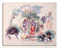 Pierre Auguste Renoir 伸びた ジクレー キャンバスに印刷-有名な絵画 美術品 ポスター -再生 壁の装飾 ハングする準備ができて(ツリーの下の図)#NK