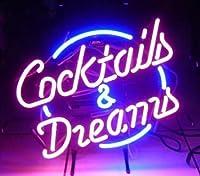Cocktails & DreamsネオンArt Sign 17× 14インチ、RealガラスネオンサインカスタムデザインネオンOpenサイン、完璧なホームDecor。目を引くネオンバーサイン。