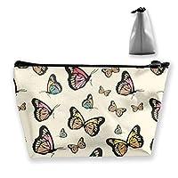 蝶々が舞う 化粧ポーチ メイクポーチ ミニ 財布 機能的 大容量 ポータブル 収納 小物入れ 普段使い 出張 旅行 ビーチサイド旅行