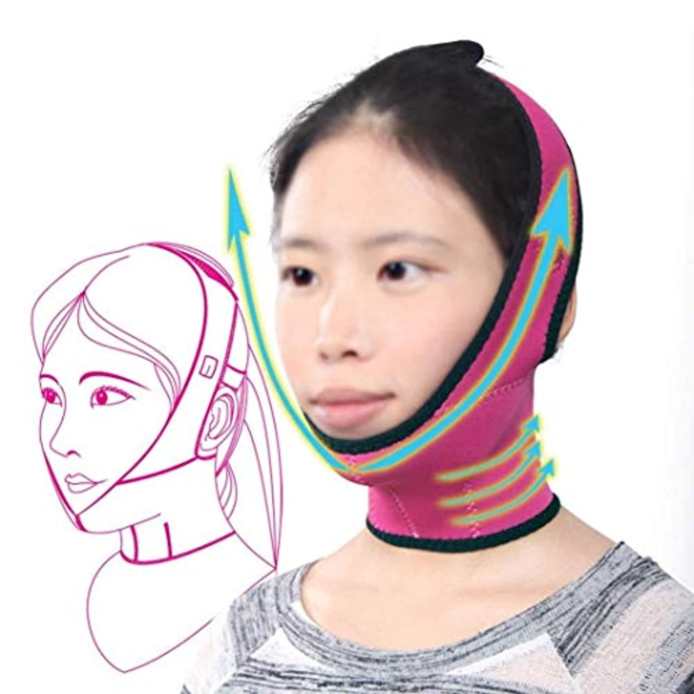 気がついて先住民れんがフェイスリフトマスク、スリミングベルトフェイスマスク強力なリフティング小さなV顔薄い顔包帯美容美容リフティング顔小さな顔薄いフェイスマスク