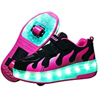 Ufatansy Rechargeable Shoes for Kids Light Shoes Boys Roller Skate Shoes LED Light up Wheel Shoes Girls Roller Sneakers Shoes Charging by USB Double Wheels