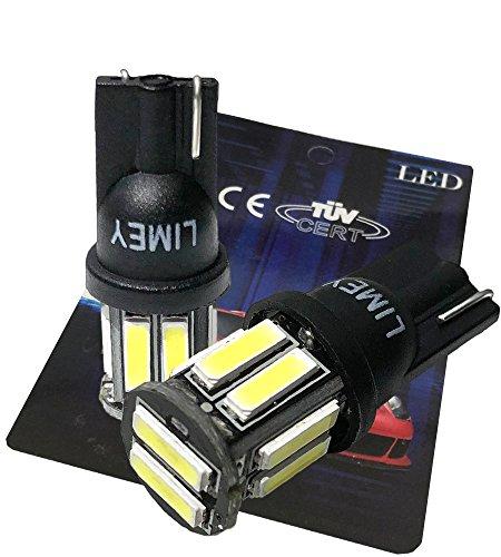(ライミー) LIMEY 最新! 5W級 爆光 T10 LED バルブ ホワイト 白 ポジション ウエッジ SMD7020 10連×2SMD 20チップ搭載 6000K ナンバー ルームランプ 取説&保証書付 2個入 【ベース:黒】 L-T10W7020B2