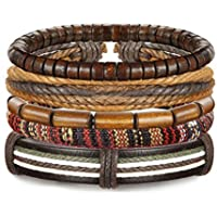 Udalyn 4-9Pcs Leather Bracelet Set Wooden Beads Bracelets Adjustable Bangle Wristband for Men Women