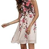 レディース ショート kooleeドレス夏ショートドレスカジュアルレディース花柄ラウンドネックカットアウトノースリーブドレス L ホワイト