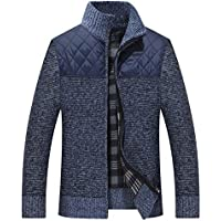 Vcansion Men's Classic Long Sleeve Full Zip up Plus Knitted Fleece Cardigan Sweaters