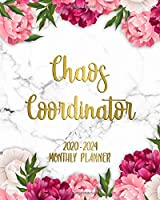 Chaos Coordinator 2020-2024 Monthly Planner: Pretty Pink Peony Five Year Schedule Agenda & Calendar   Beautiful Floral Organizer with To-Do's, U.S. Holidays, Inspirational Quotes, Vision Boards & Notes