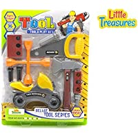 Quality Deluxe Tool series from Little Treasures - Complete with motorcycle, handsaw, axe, Wrench, and lug wrench, screws, and Wooden piece -play set for children over 36 months. [並行輸入品]