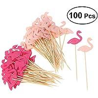 Vosarea 100個のフラミンゴカップケーキトッピング誕生日パーティケーキピックカクテル誕生日パーティーのための食品装飾用品