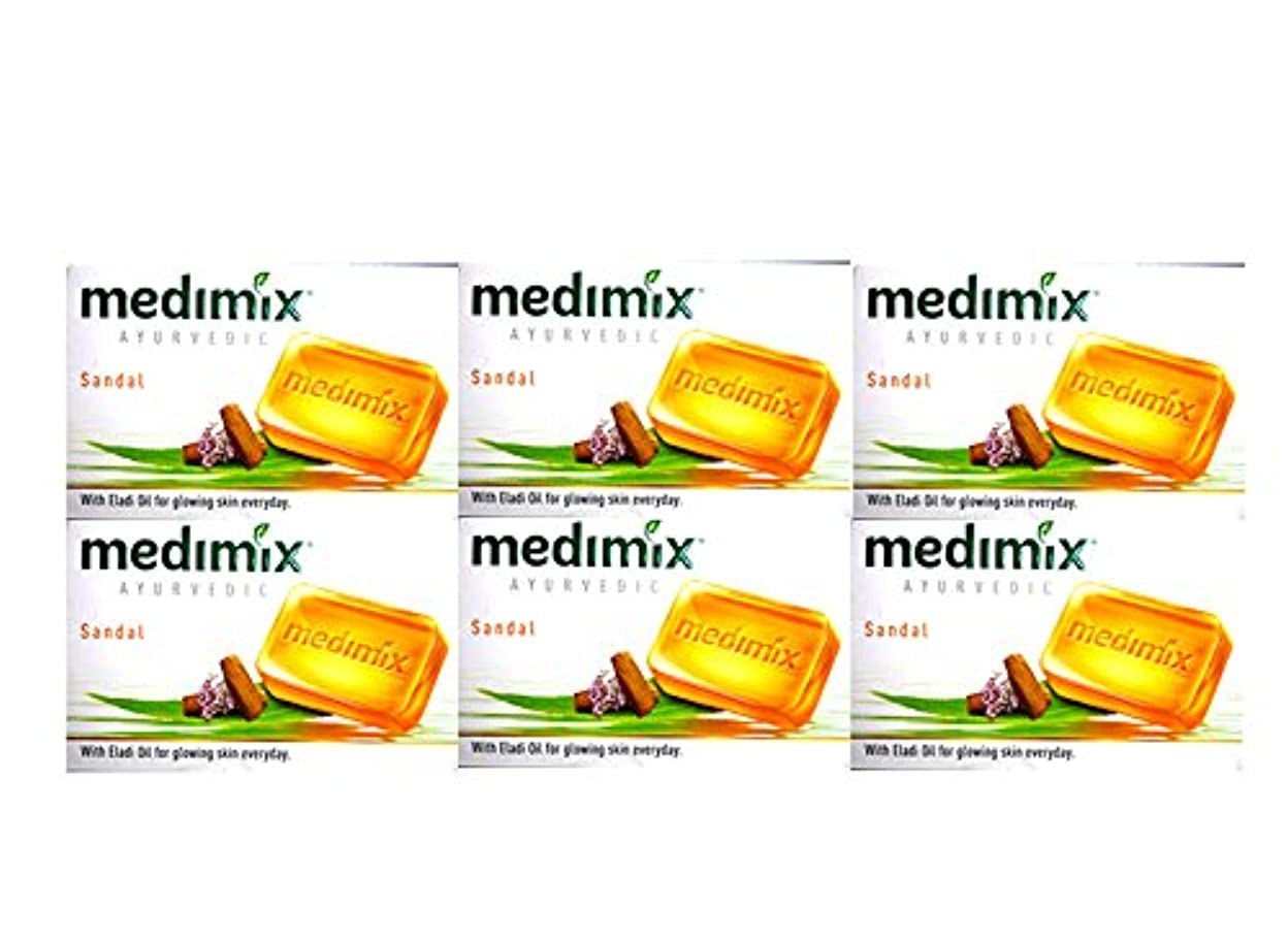 ストレス冷蔵する赤字MEDIMIX メディミックス アーユルヴェディックサンダル 6個セット(medimix AYURVEDEC sandal Soap) 125g