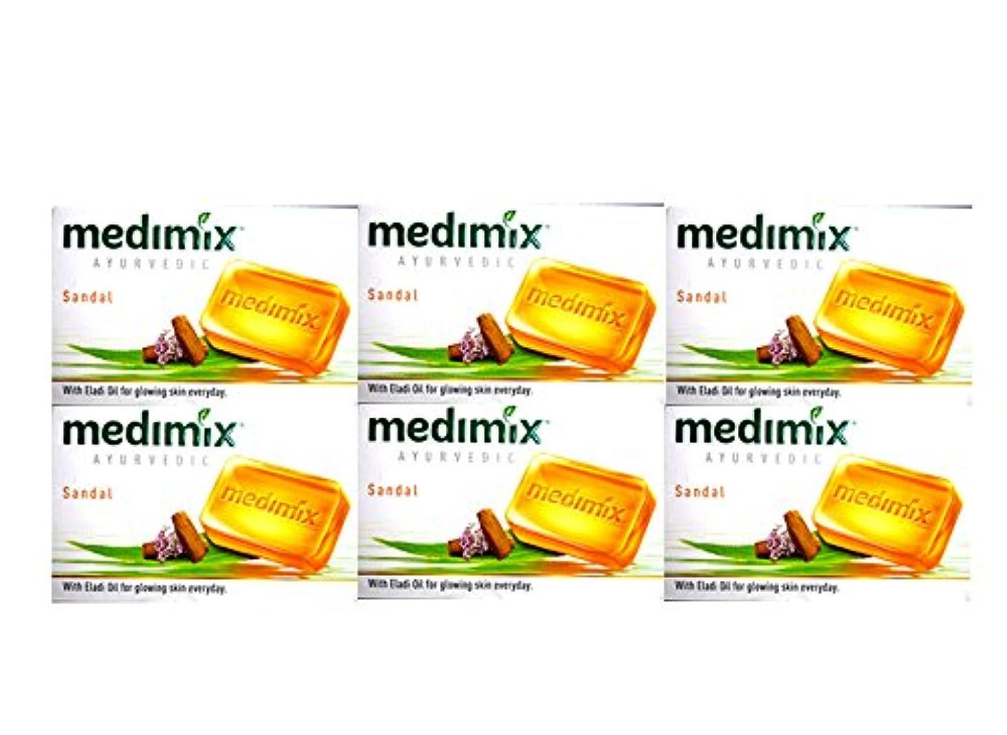 の前で換気油MEDIMIX メディミックス アーユルヴェディックサンダル 6個セット(medimix AYURVEDEC sandal Soap) 125g