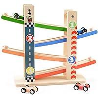 くるくるスロープ 木製スロープ 滑空車 キッズ おもちゃ 4台セット ミニコースター 4つ軌道 はしご4階 知育玩具 ルーピング ビーズコースター スロープトイ 誕生日祝い 入園祝い 親子 2歳/3歳/4歳/5歳