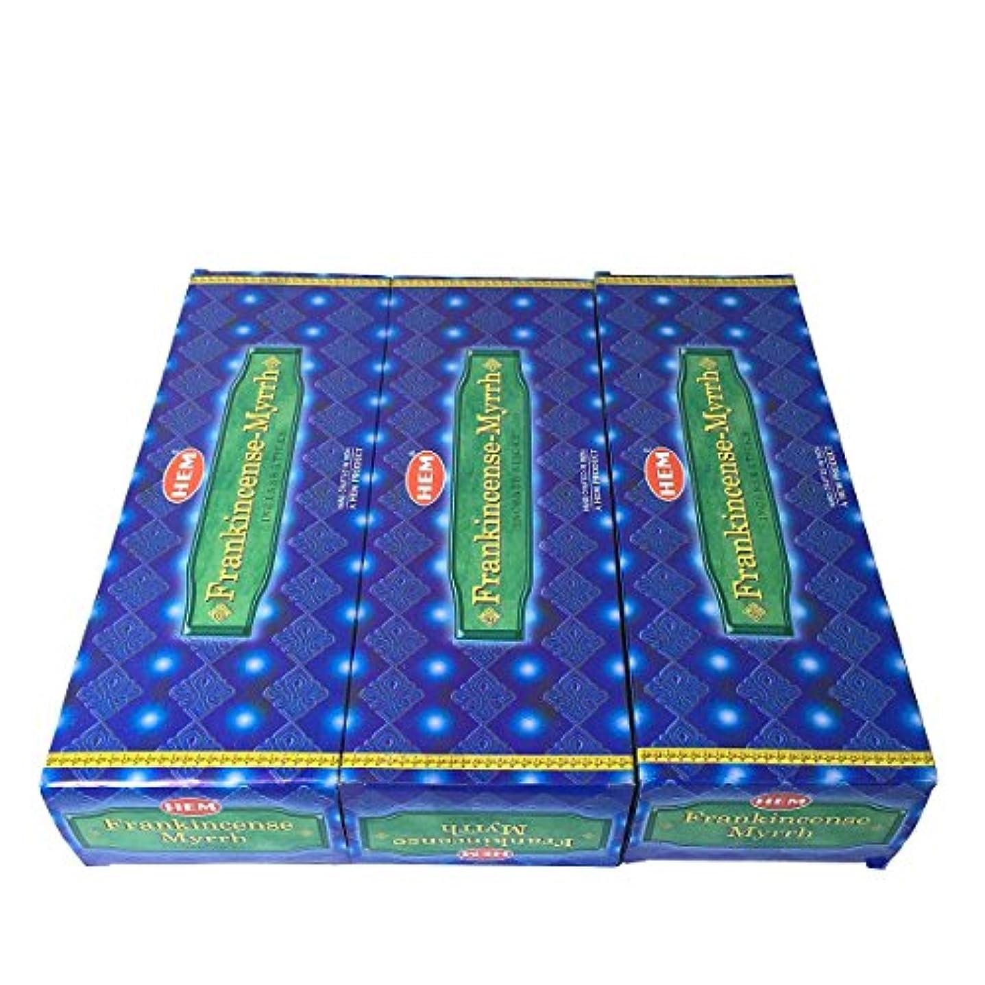 毒つぶやき忘れられないフランキンセンス ミルラ香スティック 3BOX(18箱) /HEM FRANKINCENSE MYRRH/インセンス/インド香 お香 [並行輸入品]