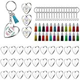SODIAL 90Pcs Acrylic Discs Clear Heart Keychain Blanks Charms and Colourful Tassel Key Rings for DIY Crafts Jewelry Making