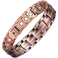 VITEROU Mens 99.95% Pure Copper Magnetic Therapy Bracelet with Strong Healing Magnets for Arthritis Pain Relief,3500 Gauss,8.5-9.8 Inches
