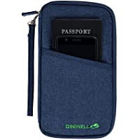 DOKEHOM DKA3203BL Travel Wallet Passport Holder Cover (3 Colors), RFID Document Organizer with Hand Strap (Blue, L)