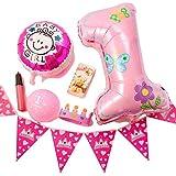(ADOSSY) 誕生日 パーティ 誕生日会 飾り付け デコレーション 飾り 1歳 ファースト バースデー ポシェット付き (11点 セット, ピンク)