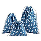 ポータブル印刷巾着袋バンドルストレージショッピング旅行ハンドバッグ、クリスマスギフトバッグ青いアヒルS
