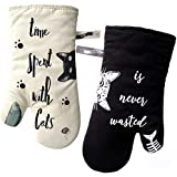 """GREVY Oven Mitts Heat Resistant Cooking Glove 100% Cotton Lining 12""""(Ivory and Black Cat,Potholder Kitchen Gloves,Set of 2)"""