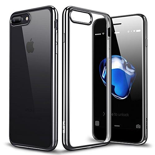 iPhone7 plusケース アイフォン7プラスケース,ESRR シリコン ソフトTPU ケース シンプル キラキラ バンパー 衝撃吸収 傷防止 iPhone7 plus カバー 5.5インチ (ブラック)
